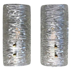 20th Century Swedish Orrefors Pair of Glass Wall Sconces by Carl Fagerlund