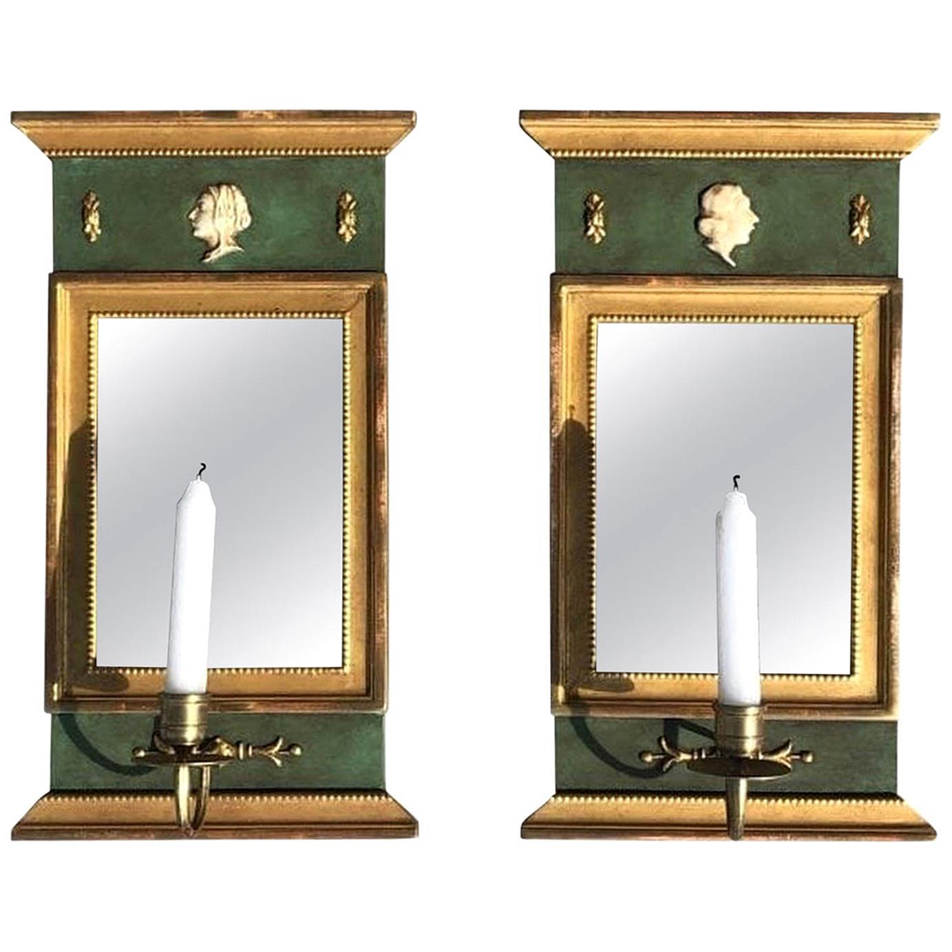20th Century Swedish Pair of Gustavian Wood Wall Mirrors, Sconces by Kurt Ekvall