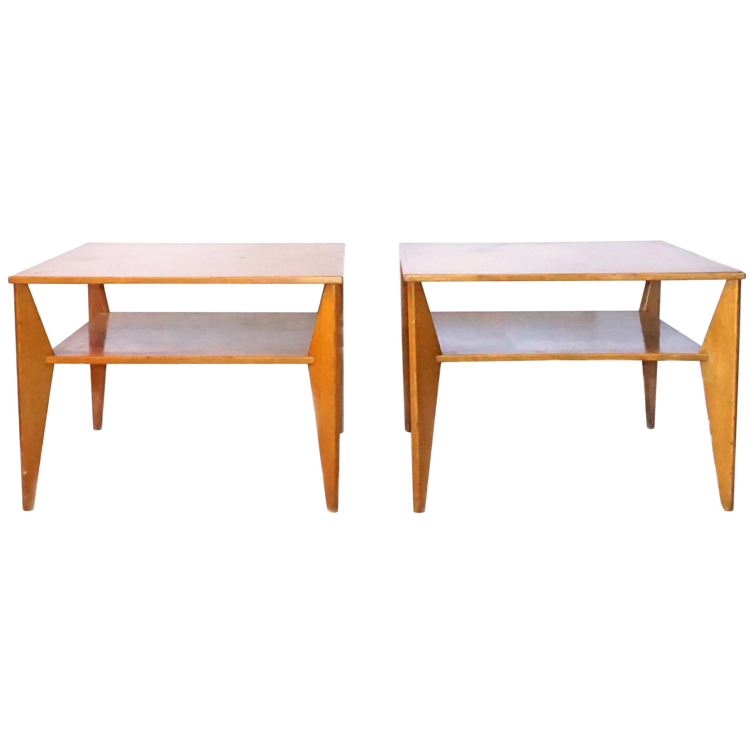 20th Century Swedish Pair of Two Tiers, Veneered Wood Side Tables
