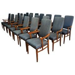 20th Century Swedish Set of 21 Birchwood Blue Armchairs by Carl Malmsten