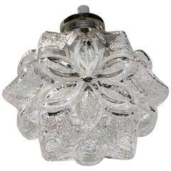 20th Century Swedish Snowflake Glass Pendant by Orrefors