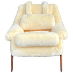 20th Century Swedish Yellow Sheepskin Swivel Lounge Chair