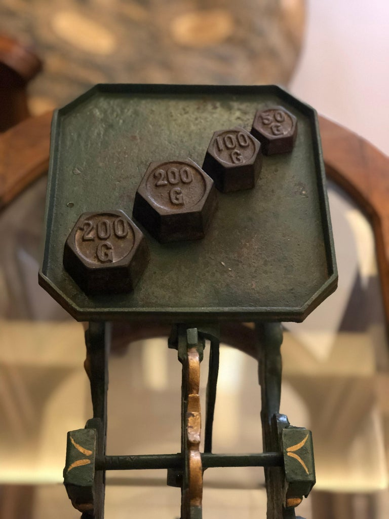 20th Century Swiss Balance Scale in Green with Complete Set of Weights For Sale 3