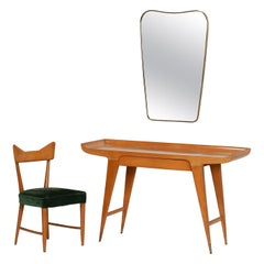 20th Century Table, Chair and Mirror by Giò Ponti in Maple Wood, Velvet, Brass