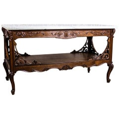 20th-Century Table with a Marble Top