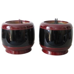 20th Century Tanaka Hyoami Pair of Lacquer Hibachi