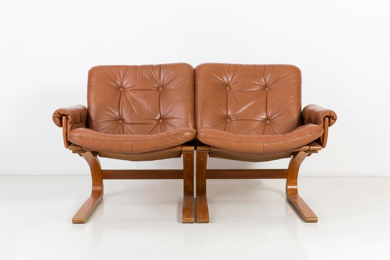Mid-Century Modern 20th Century Teak Wood Kengu Sofa, Elsa & Nordahl Solheim for Rybo Rykken, 1970s For Sale