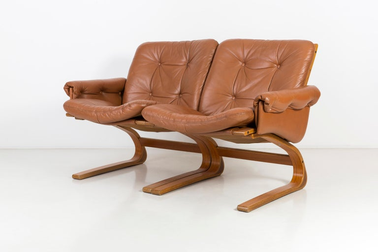 20th Century Teak Wood Kengu Sofa, Elsa & Nordahl Solheim for Rybo Rykken, 1970s In Good Condition For Sale In 05-080 Hornowek, PL