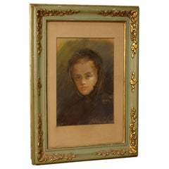 20th Century Tempera on Paper Spanish Signed Female Portrait Painting, 1960
