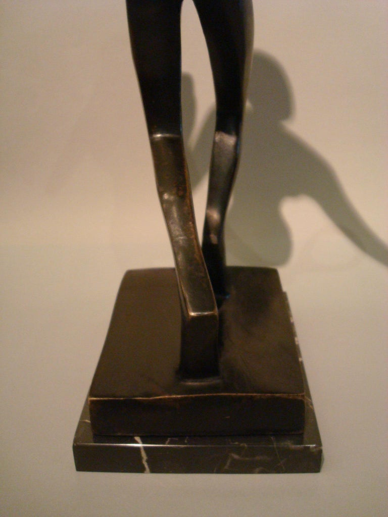 Patinated 20th Century Tennis Player Bronze Sculpture / Trophy, Italy, 1930s For Sale