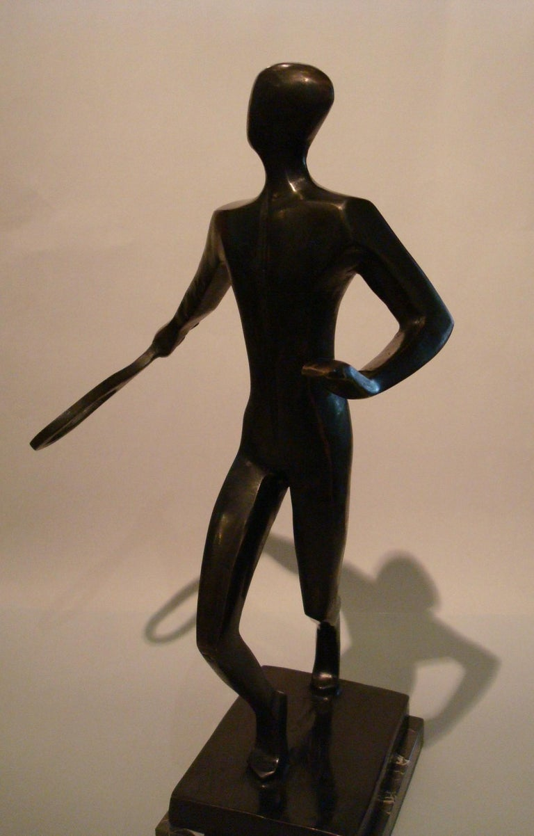 Marble 20th Century Tennis Player Bronze Sculpture / Trophy, Italy, 1930s For Sale