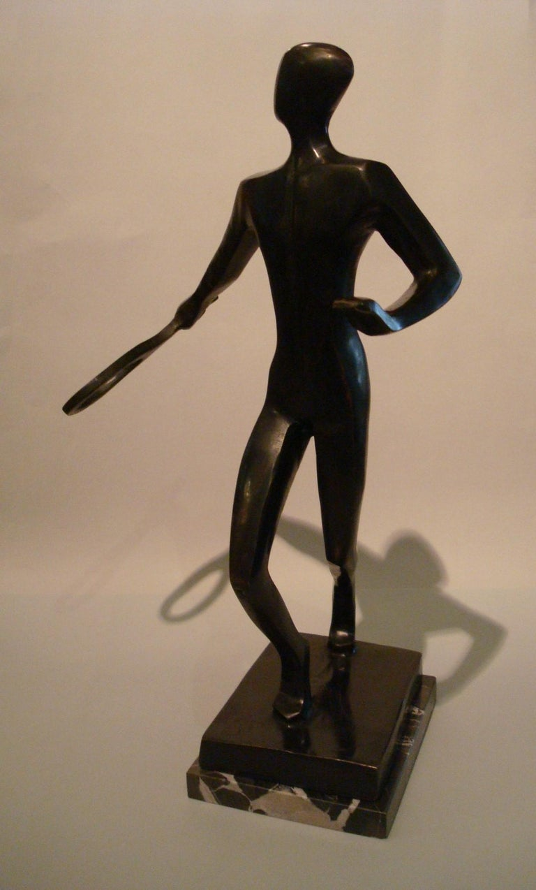 20th Century Tennis Player Bronze Sculpture / Trophy, Italy, 1930s For Sale 1