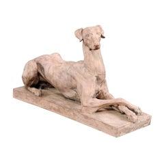 20th Century Terra Cotta Recumbent Dog