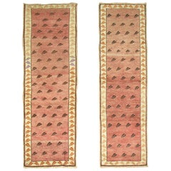 20th Century Terracotta Background Matching Pair of Turkish Short Runners