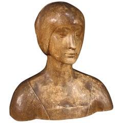 20th Century Terracotta Italian Sculpture Bust of Woman, 1950