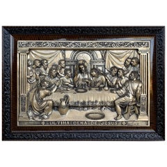"20th Century ""The Last Supper"" Large Metal Sculpture Relief"