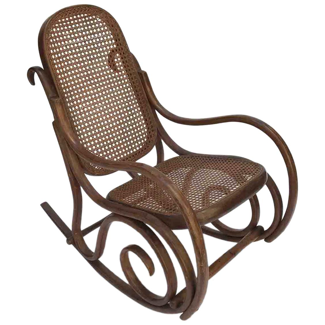 20th Century Thonet Style Beech Bentwood Child Rocking Chair with Cane