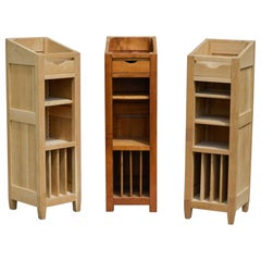 20th Century Three French Oak Lecterns with Niches and High Shelves