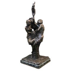 20th Century Three Graces Bronze Figures Italian Symbolist Sculpture