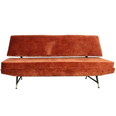 20th Century Three-Seat Sofa, Velvet, Brass Feet