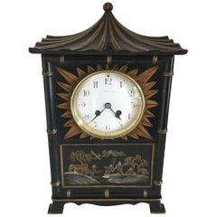 20th Century Tiffany Black Chinoiserie Pagoda Mantel Clock