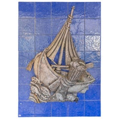 20th Century Tile Mural with Boat Attributed to Jorge Barradas