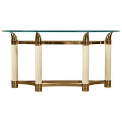 20th Century Tommaso Barbi Italian Tusk Demilune Console with Glass Top