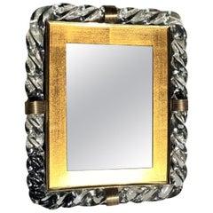 20th Century Treccia Murano Glass, Italian Table Mirror by Seguso Vetri D'Arte