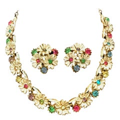 20th Century Trifari Style Gold, Enamel, Crystal Flower Necklace & Earrings S/3