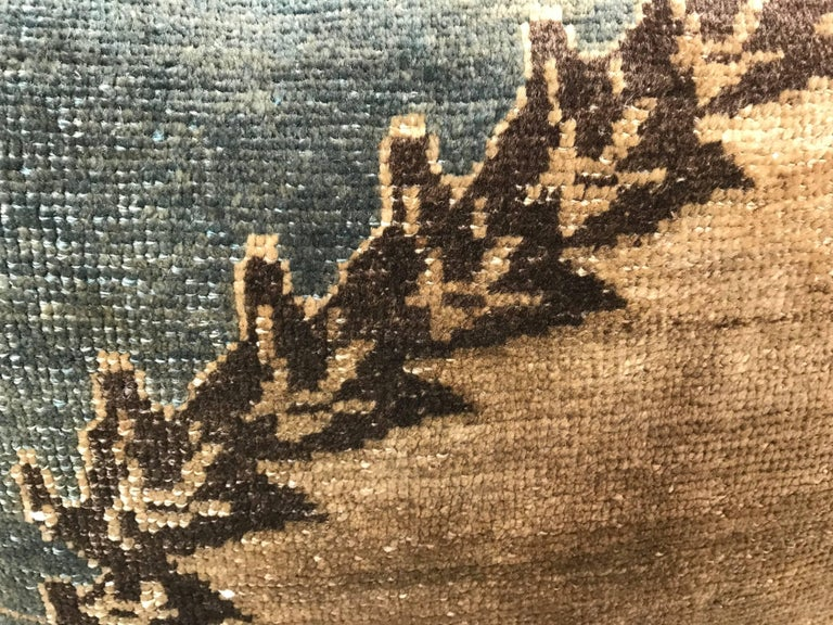 20th Century Turkish Green and Khaki Rug Fragment Pillow In Excellent Condition For Sale In Boston, MA