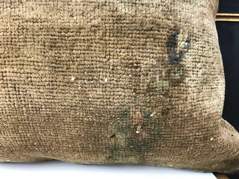 20th Century Turkish Green and Khaki Rug Fragment Pillow For Sale 1