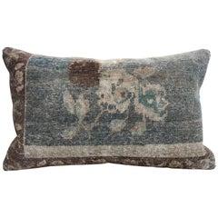 20th Century Turkish Green and Khaki Rug Pillow