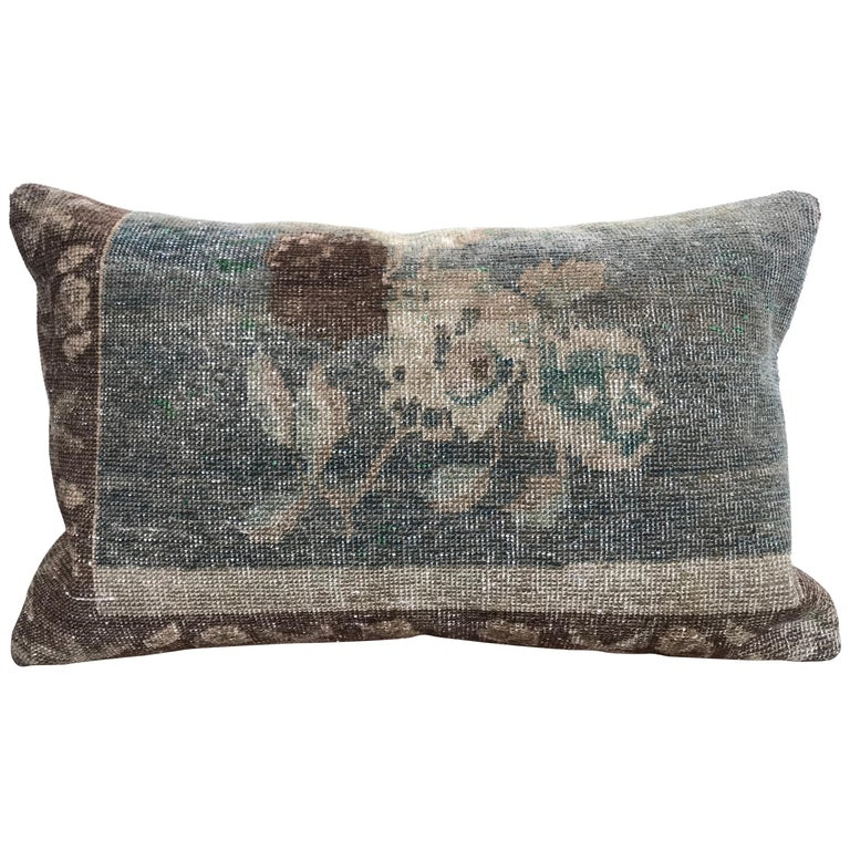 20th Century Turkish Green And Khaki Rug Pillow For Sale