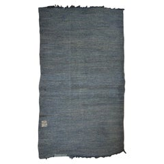 20th Century Turkish Muted Blue Cotton and Linen Rug