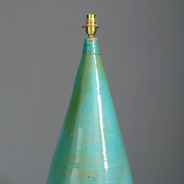 Mid-Century Modern 20th Century Turquoise Glazed Studio Pottery Vase Lamp For Sale