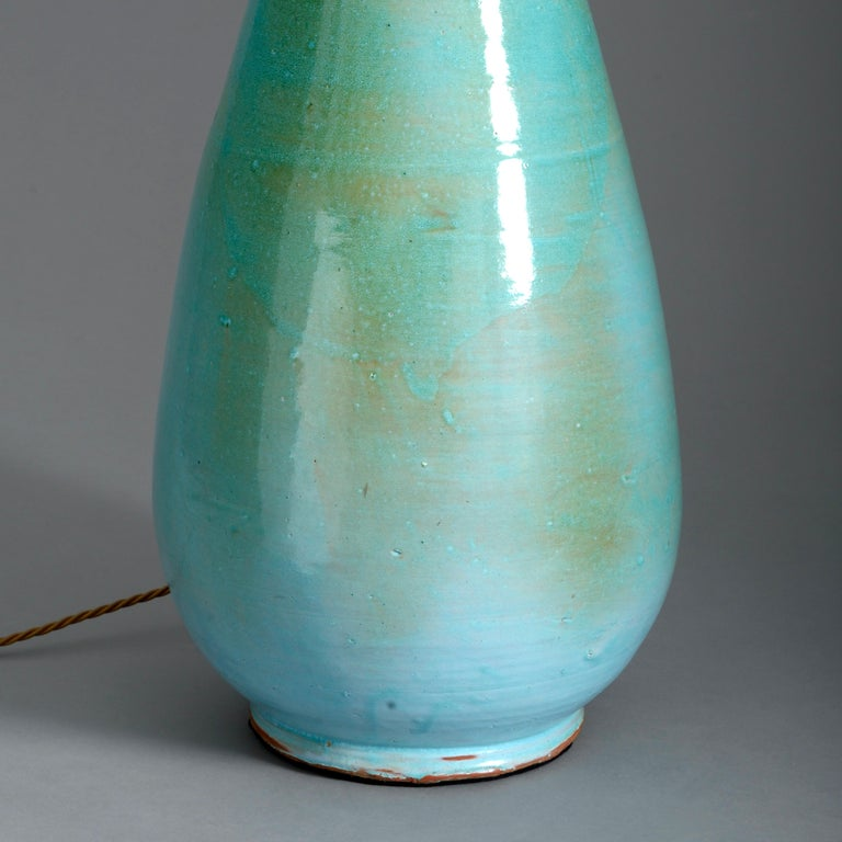 English 20th Century Turquoise Glazed Studio Pottery Vase Lamp For Sale