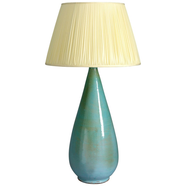 20th Century Turquoise Glazed Studio Pottery Vase Lamp For Sale