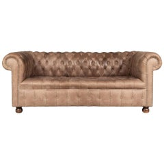 20th Century Two-Seat Chesterfield Leather Sofa with Button Down Seat