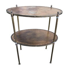 20th Century Two-Tier Table, Tooled Leather