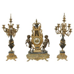 20th Century Two-Tone Bronze Three-Piece Garniture Set