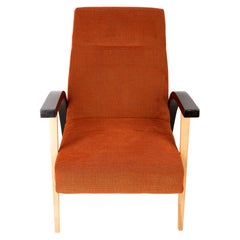 20th Century Unique Armchair, Orange Velvet, Lejkowski Lesniewski, 1970s, Poland