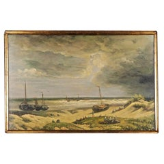 20th Century Unique Oil Painting Stormy Coastal Landscape with Sailing Ships