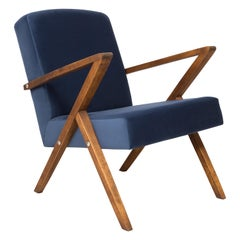 20th Century Unique Zet Armchair, Navy Velvet, 1970s, Poland