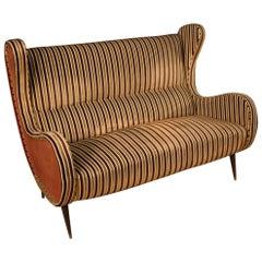 20th Century Velvet and Fabric Italian Design Zanuso Style Sofa, 1960