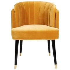 Velvet Anita Dining Chair Walnut Wood Brass