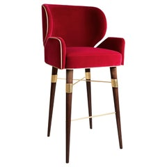Velvet Louis I Bar Chair Walnut Wood Brass