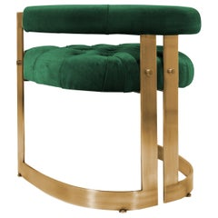 20th Century Velvet Winfrey Dining Chair Aged Brushed Brass