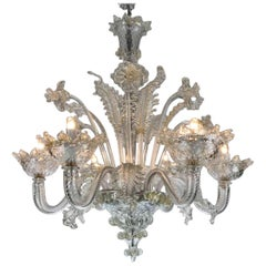 Mid-20th Century Venetian Murano Blown Clear Glass Six-light Chandelier