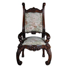 20th Century Venetian Rococo Throne Armchair / Chair Walnut