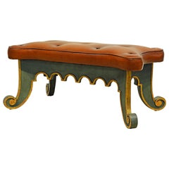 20th Century Venetian Style Painted and Parcel-Gilt Leather Covered Bench